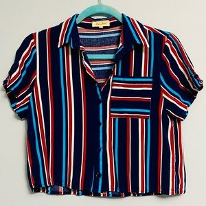 Red and Blue Cropped Button Down